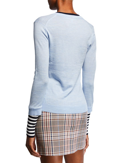 Veronica Beard Avory Wool Sweater with Contrasting Sleeves and Neck