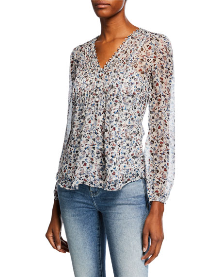 Veronica Beard Lowell V-Neck Long-Sleeve Floral-Print Blouse