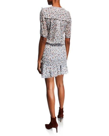 Veronica Beard Dakota V-Neck Short-Sleeve Floral-Print Mini Dress