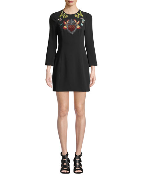 cinq a sept Josephine Embroidered Crepe Short Dress