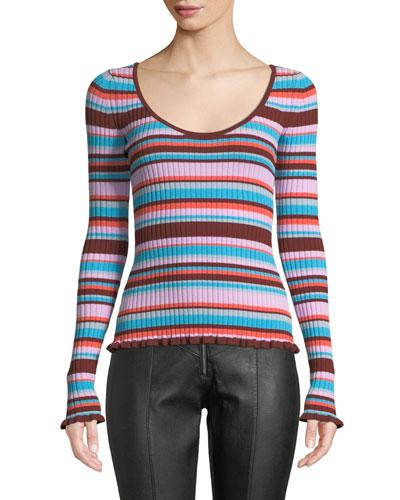 Estella Striped Ribbed Long-Sleeve Top