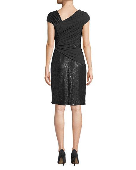Tadashi Shoji Asymmetric Pintuck & Lace Dress