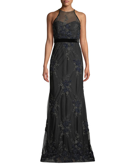 Badgley Mischka Collection Floral Embellished Tulle Racerback Gown