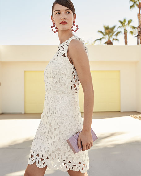 Milly Sienna Embroidered Scallop Lace Dress