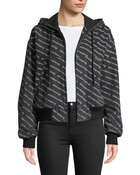 Logo-Print Hooded Bomber Jacket