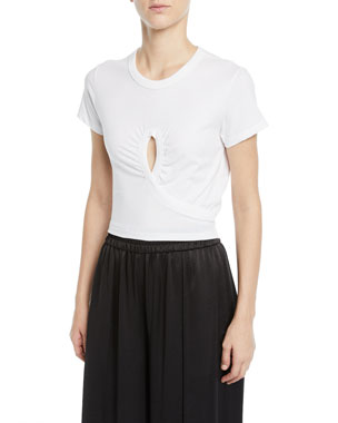 e490b25d alexanderwang.t High Twist Jersey Cropped Tee with Keyhole