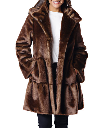 Faux Fur Tiered Swing Coat