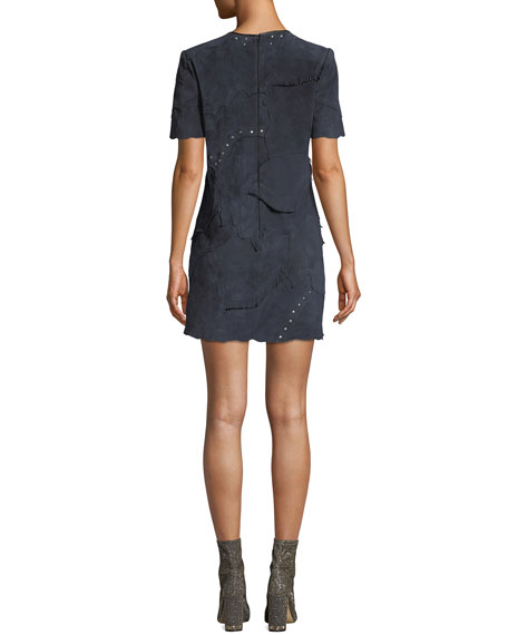 Coach Studded Patchwork Suede Short Dress