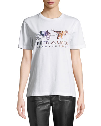 Mirrored Rexy And Carriage Satin-Stitch Logo Tee