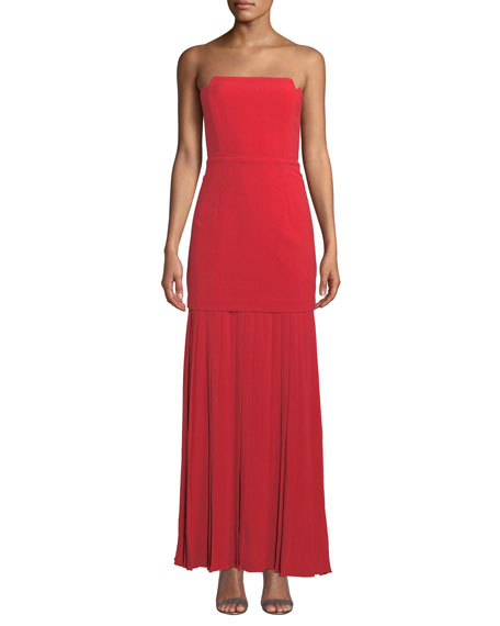 Aijek Vida Strapless Pleated Bustier Maxi Dress