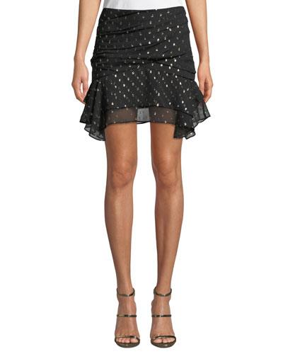Jasmeen Draped Silk Mini Skirt