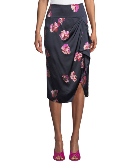 JOIE Alphina Front-Drape Floral-Print Knee-Length Skirt in Navy
