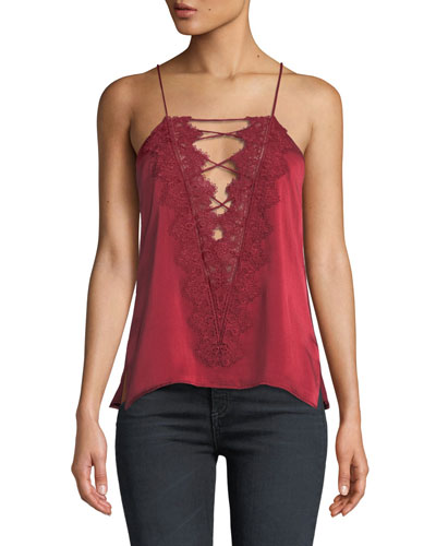 Charlie Charmeuse Strappy  Lace Cami