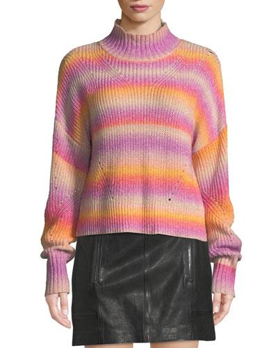 Brinkley Mock-Neck Ombre Pullover Sweater