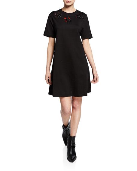 McQ Alexander McQueen Embellished Swallow Short-Sleeve Cotton Babydoll Dress