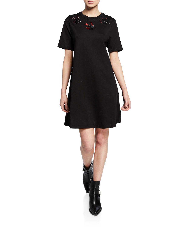 Embellished Swallow Short Sleeve Cotton Babydoll Dress by Mc Q Alexander Mc Queen