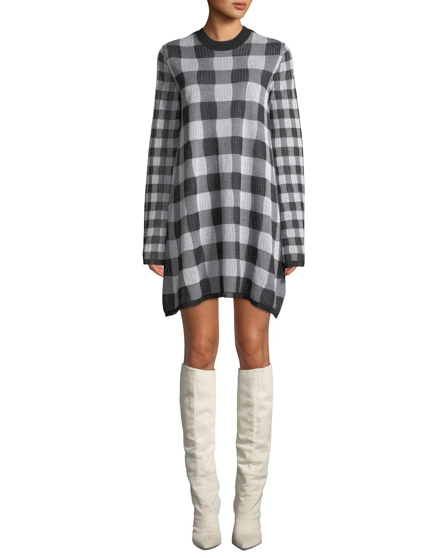 6743e721d10 McQ Alexander McQueen Checkerboard Long-Sleeve Sweater Dress ...