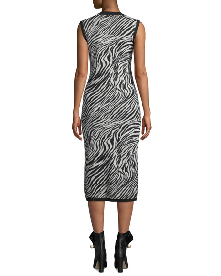 McQ Alexander McQueen Zebra-Print Sleeveless Tube Dress