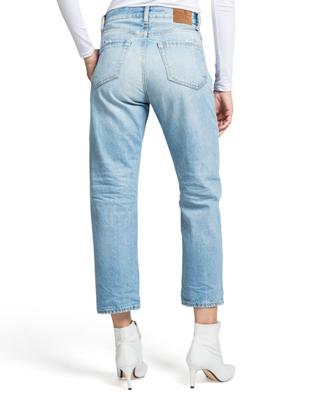 PRPS High-Rise Cropped Straight-Leg Jeans
