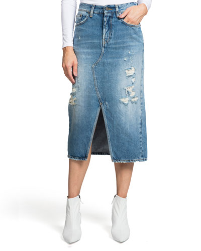 Split-Front A-Line Denim Midi Skirt