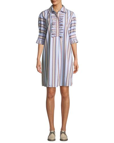 Striped Ruffle-Front Half-Sleeve Shirtdress