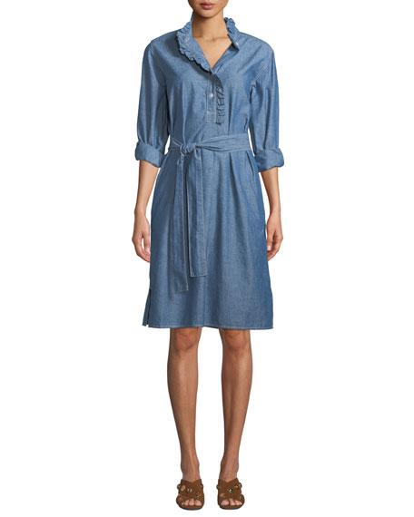 b78099f2f0 Tory Burch Deneuve Belted Ruffle-Trimmed Cotton-Chambray Dress ...