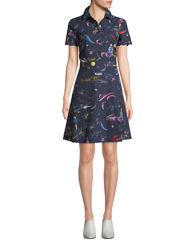 4a90dac79a Tory Burch Daydream Short-Sleeve Shirtdress