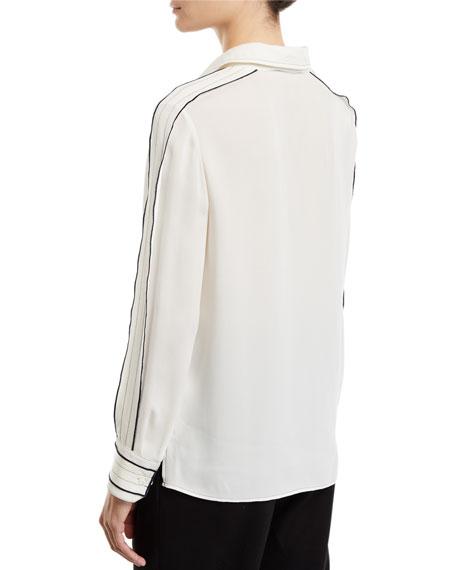 Long-Sleeve Silk Blouse w/ Contrast Trim