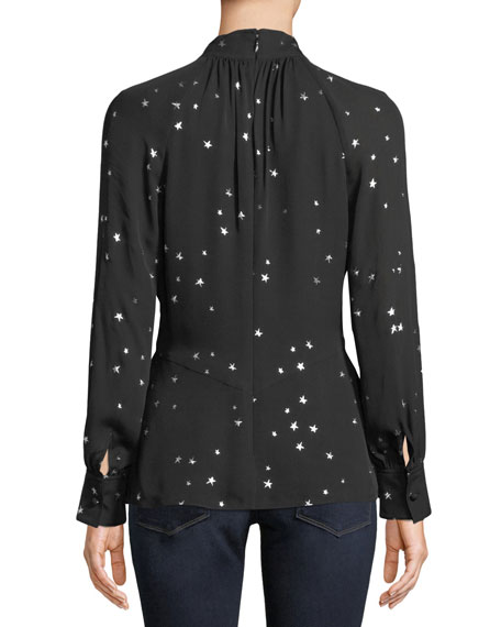 Tory Burch Stargazer Pleated Bow-Neck Blouse