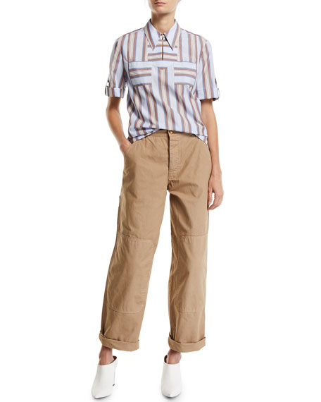 Tory Burch High-Waist Twill Carpenter Pants