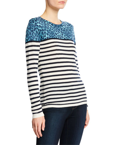 Striped Crewneck Long-Sleeve Cashmere-Blend Top w/ Leopard-Print