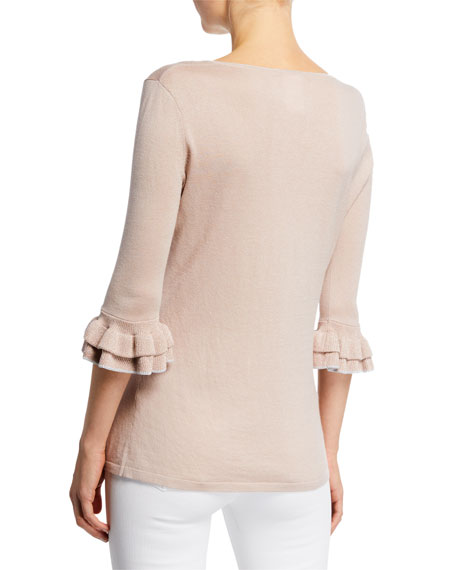 Cashmere & Metallic Trim V-Neck 3/4 Ruffle-Sleeve Sweater Top