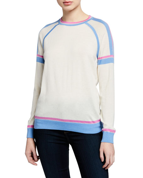 Neiman Marcus Cashmere Collection Superfine Crewneck Long-Sleeve Athletic Stripe Cashmere-Blend Sweater