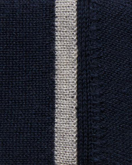 Superfine Button-Front Shrunken Cashmere-Blend Cardigan w/ Contrast Trim