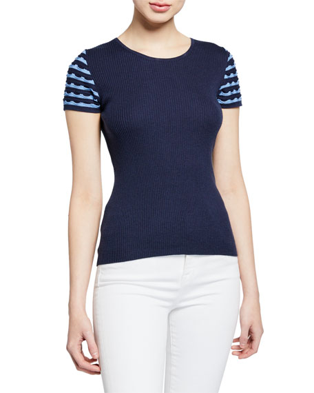 Neiman Marcus Cashmere Collection Superfine Jewel-Neck Short-Sleeve Ruffle Stripe Cashmere-Blend Top