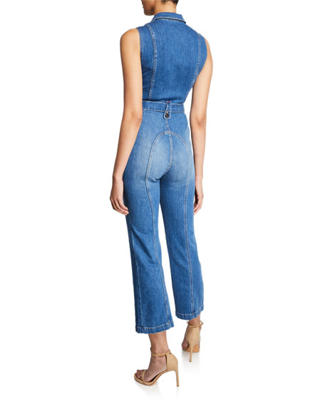 ALICE + OLIVIA JEANS Gorgeous Sexy 70s Cropped Sleeveless Jumpsuit