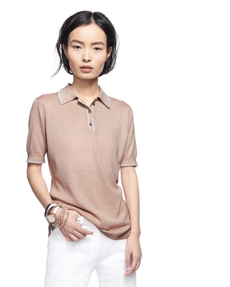 Superfine Cashmere Short-Sleeve Polo Top w/ Metallic Trim