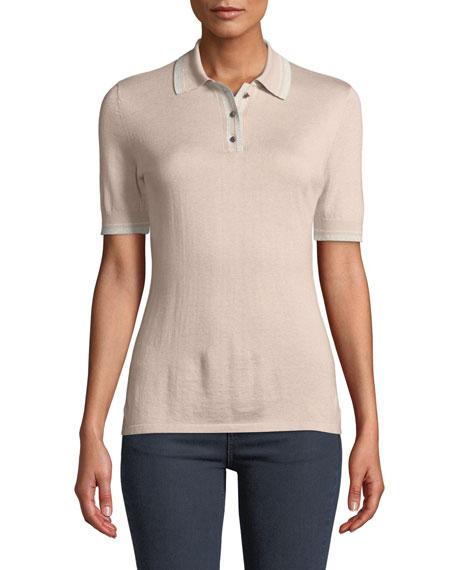 Superfine Cashmere Short-Sleeve Polo Top w/ Metallic Trim