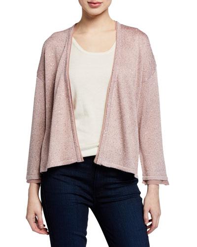 Cashmere-Blend & Sequin Kimono-Sleeve Cardigan