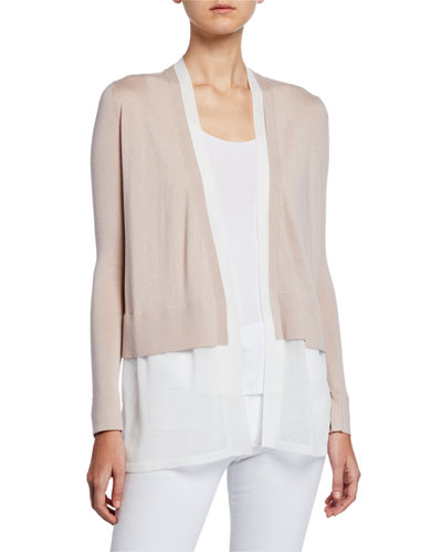Layered Open-Front Cashmere Cardigan