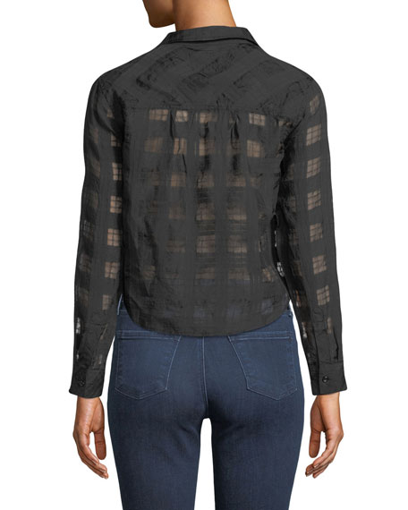 Rails Kelsey Cropped Tie-Front Check Shirt