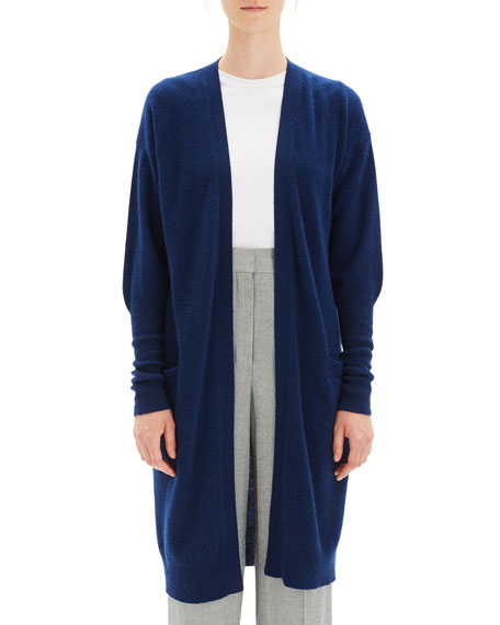 Lightweight Open-Front Long Cashmere Cardigan in Navy