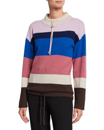 Striped Mock Neck Cashmere Pullover Sweater
