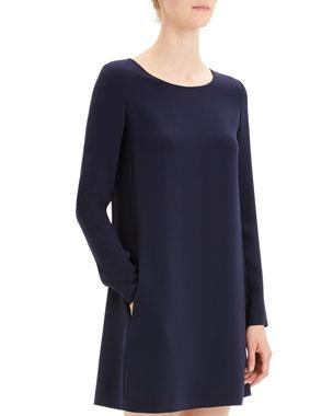 c38e1ff0fe Theory Paneled Crepe Long-Sleeve Shift Dress