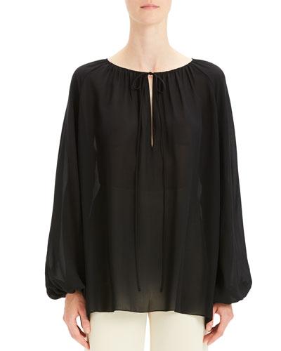 Gathered Silk Long-Sleeve Keyhole Top