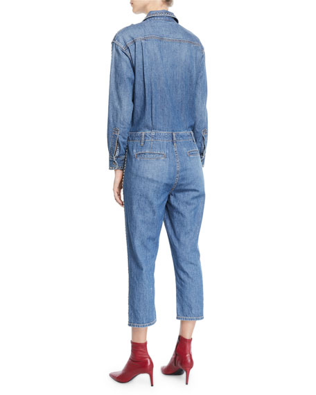 Current/Elliott The Crew Coverall Cropped Denim Jumpsuit