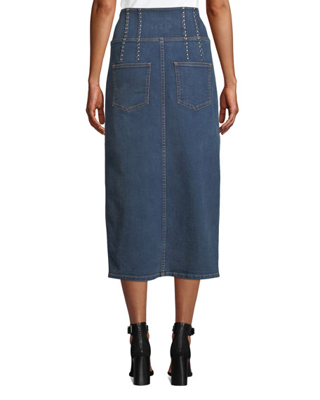 Current/Elliott The Trilby Studded Denim Pencil Skirt
