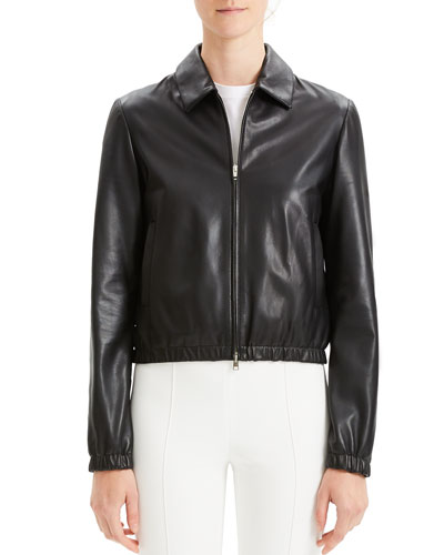 Cropped Leather Zip-Front Bomber Jacket