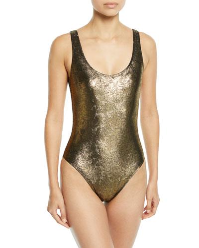 Metallic Jacquard Maillot One-Piece Swimsuit
