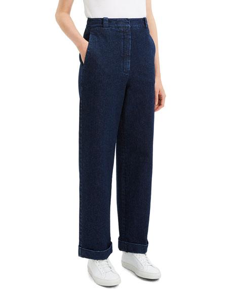 Theory Structured Straight-Leg Cuffed Denim Pants